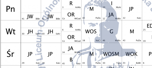 Nowy plan lekcji od 21.09.2020 r.